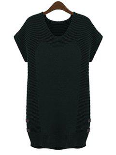 Solid Color Short Sleeve Sweater Dress - Black 2xl