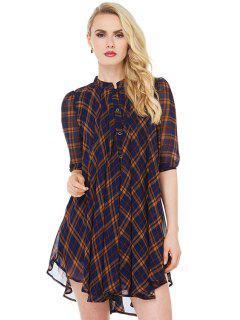 Plaid Print Half Sleeve Dress - Checked S