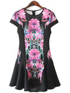 Floral Short Sleeve Flouncing Dress - Black M