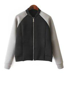 Color Block Long Sleeves Jacket - Black And Grey L