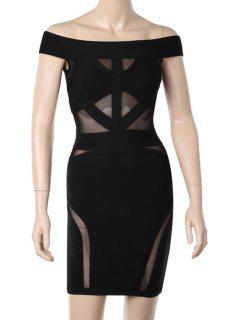 Slash Neck Voile Splicing See-Through Dress - Black M