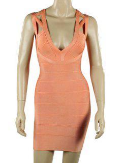 Solid Color Plunging Neck Bandage Dress - Orangepink M