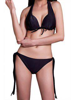 Black Lace-Up Bikini Set - Black M