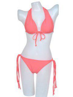 Black Lace-Up Bikini Set - Pink M