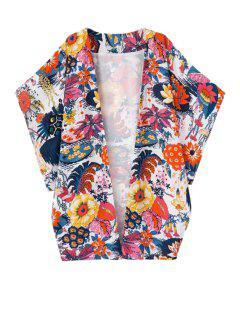 Floral Print Half Sleeve Coat - L