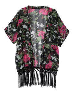 Floral Print Fringe Half Sleeve Coat - Black L