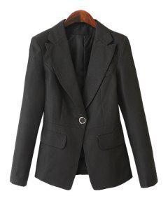 Solid Color Pockets Blazer - Black Xl
