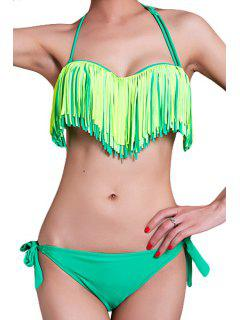 Halter Fringe Bikini Set - Green M