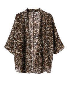 Leopard Pattern 3/4 Sleeve Coat - Leopard M
