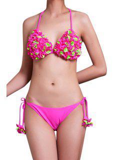 Stereo Flower Halter Bikini Set - Pink L