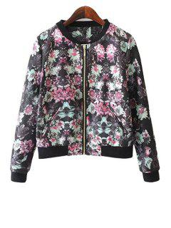 Floral Print Stand Neck Jacket - Water Red L