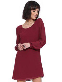 Solid Color Long Sleeve Chiffon Dress - Wine Red Xl
