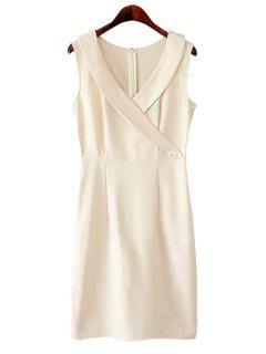 V-Neck Solid Color Slit Dress - Off-white L