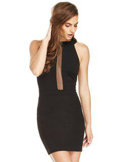 Voile Splicing Backless Sleeveless Dress - Black Xs