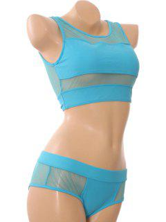Voile Splicing Openwork Divided Type Swimwear - Azure M