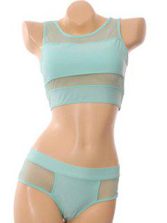Voile Splicing Openwork Divided Type Swimwear - Light Green M