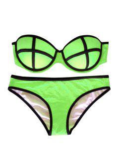 Color Block Push-Up Bikini Set - Green L