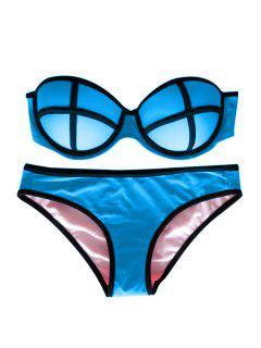 Color Block Push-Up Bikini Set - Lake Blue S