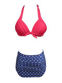 Polka Dot Divided Type Swimwear - Blue L