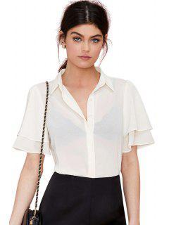 Corta Blanca De Gasa Manga Camiseta - Blanco 2xl