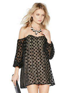 Slash Neck Polka Dot Dress - Black S