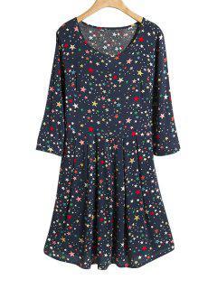 Full Star Print 3/4 Sleeve Dress - Purplish Blue M