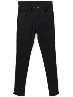 Hole Two Buttons Zipper Fly Jeans - Black M