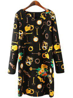 Key Print Long Sleeve Dress - Black L
