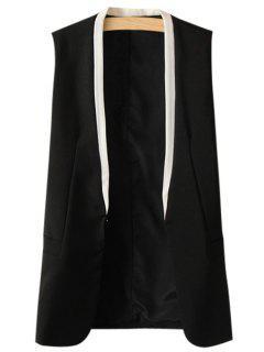 Collarless Color Block Waistcoat - Black L