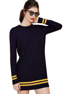 Casual Style Round Neck Long Sleeve Striped Splicing Women's Sweater Dress - Navy Blue S