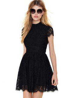 Solid Color Backless Lace Dress - Black S