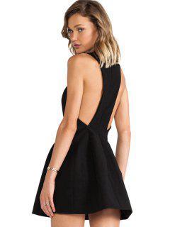 Solide Couleur Backless Robe Sans Manches - Noir Xs
