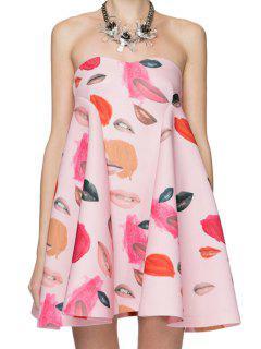 Full Lip Print Strapless Dress - Pink L