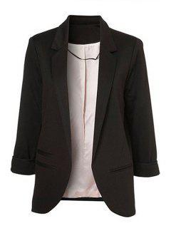 Lapel Solid Color 3/4 Sleeve Blazer - Black 2xl