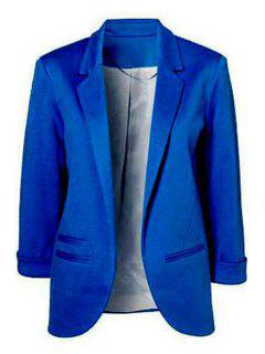 Lapel Solid Color 3/4 Sleeve Blazer - Blue M
