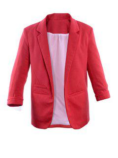 Lapel Solid Color 3/4 Sleeve Blazer - Peach Red Xl