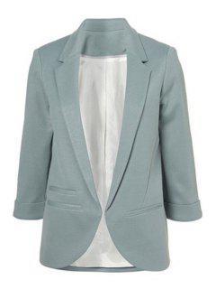 Lapel Solid Color 3/4 Sleeve Blazer - Light Blue 2xl