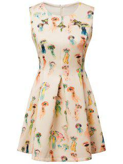 Colorful Jellyfish Print Dress - S