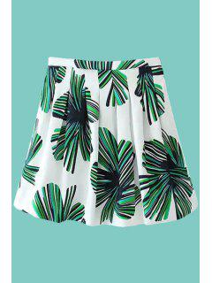 Color Block Leaves Print Skirt - White And Green S