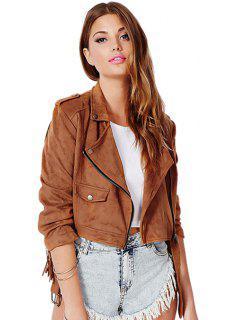Solid Color Fringe Jacket - Brown Xl
