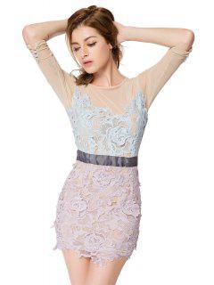 Crochet Flower 3/4 Sleeve Dress - 2xl