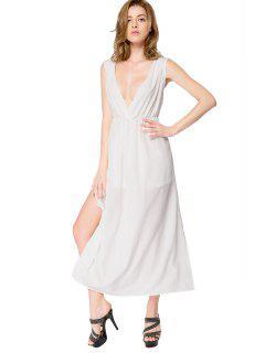 White Side Slit Backless Dress - White L