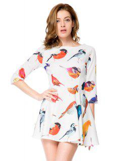Bird Print 3/4 Sleeve A-Line Dress - White S