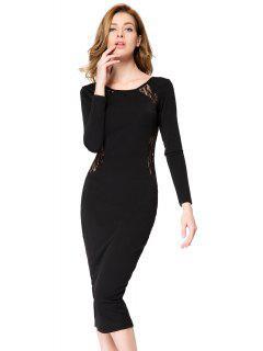 Lace Splicing Bodycon Dress - Black Xl