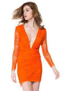 Lace Plunging Neck Bodycon Dress - Jacinth M