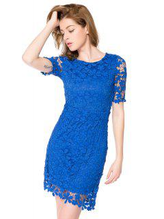 Crochet Flower Short Sleeve Dress - Blue 2xl