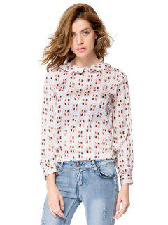 Lipstick Print Long Sleeve Blouse - Off-white M