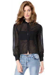 Striped Single-Breasted Back Blouse - Black Xl