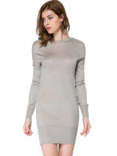 Bowknot Embellished Long Sleeve Dress - Gray L
