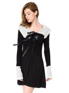 Preppy Style Peter Pan Collar Long Sleeve Color Block Women's Sweater Dress - Black 2xl